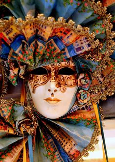 ~Carnivale~ il mapa di venezia blues and golds with red and orange