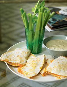Buffalo Chicken Quesadillas by Katie Lee.  Had these tonight...easy, fast, and sooo delicious!