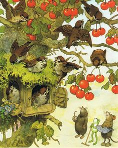 "A garden party in the Flower House. ""Gartenfest in Blumenhausen"" - by Fritz BAUMGARTEN (Artist. Art And Illustration, Illustration Inspiration, Book Illustrations, Illustrators, Fantasy Art, Book Art, Fairy Tales, Artsy, Birds"