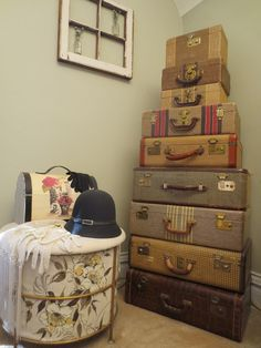 I love this look of stacked vintage suitcases, perfect for storing all kinds of treasures. Delights of Vintage Travel