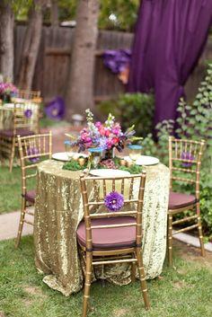 gold wedding table cloth
