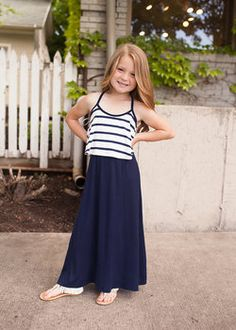 Girls Striped Maxi Dress Navy (Pre-Sale) - Ryleigh Rue Clothing by MVB