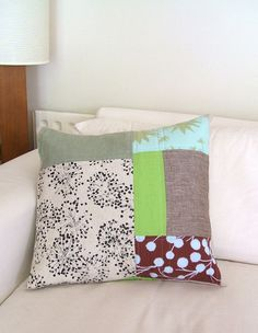 patchwork quilted cushion, great for using up scraps of your favourite fabric