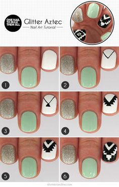 Glitter aztec nail art tutorial i Get Nails, Fancy Nails, Love Nails, How To Do Nails, Pretty Nails, Hair And Nails, Aztec Nail Art, Aztec Nails, Nail Art Modele