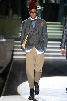 Gray Wool Jacket and Vest, Loose Khakis, and Black Leather Brogues, DSQUARED2, Men's Fall Winter Fashion.
