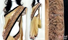 Beige georgette saree CODE: SD096 PRICE: Rs.3400 SAREE: Beige georgette saree having borders with copper lace, copper shade zari work on net and black velvet with piping. BLOUSE: Floral benaras brocade material