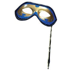 Blue and Gold Mysterious Masks on a Stick - Clearance - $3.45