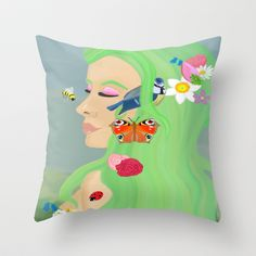 And Spring was her name  Throw Pillow by Megan Kate Art - $20.00