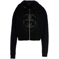 Stussy Sweatshirt (135 AUD) ❤ liked on Polyvore featuring tops, hoodies, sweatshirts, black, long sleeve sweatshirt, black zipper sweatshirt, sweatshirt hoodies, cotton sweatshirt and long sleeve tops
