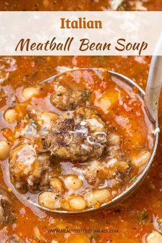 This easy Meatball Soup is filled with tender meatballs, hearty beans, and a warm tomato broth. It's a tasty and comforting weeknight dinner that's perfect for a chilly day! #meatballsoup #soup #healthysoup #meatballandbeansoup via @healthyfitnessmeals Healthy Fit, Healthy Soup, Healthy Meals, Healthy Eating, Healthy Recipes, Home Recipes, Cooking Recipes, Macro Nutrient Diet, Recipes