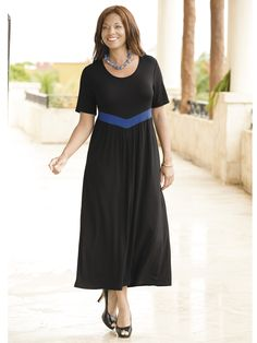 Plus Size V-waist Empire Knit Dress