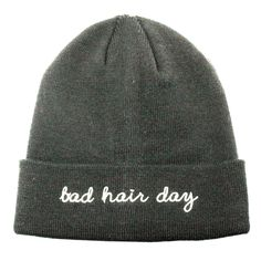 """Knit Beanie with """"Bad Hair Day"""" Embroidery Hat"""