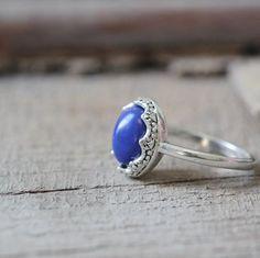 SILVER nature stone Lapis Lazuli ring healing stone daynight jewelry crown bezel LADY's Ring 5$