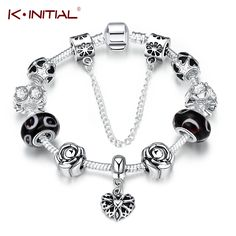 Kinitial Flower Beads Bracelet Silver Plated Heart Mixture Crystal Beads Snake Chain Charm Bracelets for women Original Jewelry #Affiliate