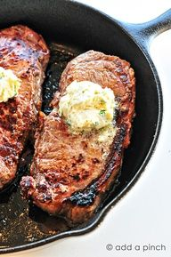 Cast iron skillet cooked steak with gorgonzola herbed butter.