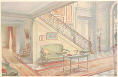 """Entry hall with staircase. """"Départ d'escalier et partie de vestibule"""", Georges Remon, 1907."""