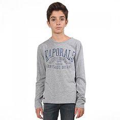 Tee Shirt Kaporal Enfant Genur Gris: Tweet T-Shirt manches longues garçon Kaporal Genur Gris TEE-SHIRT GARCON KAPORAL Tee-shirt manches…