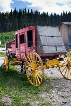 Colorful old vintage western stagecoach from 1800s