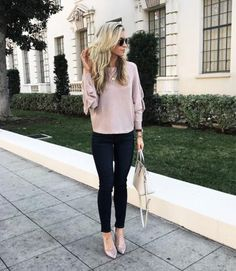 http://liketk.it/2qgPL - Loving the ruffled sleeves and girly blush shade of this sweater. @LeanneBarlow on Instagram.