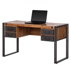 Schreibtisch Manchester II - Akazie massiv/Metall