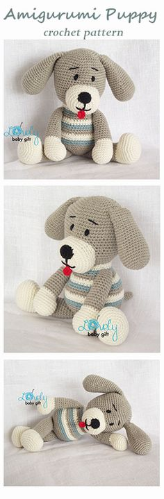 Amigurumi pattern - puppy, dog crochet pattern, häkelanleitung, haakpatroon, hæklet mønster, modèle crochet   https://www.etsy.com/listing/111849479/amigurumi-crochet-pattern-puppy-dog?ref=shop_home_active_6