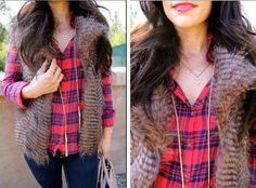 Faux fur vest + plaid