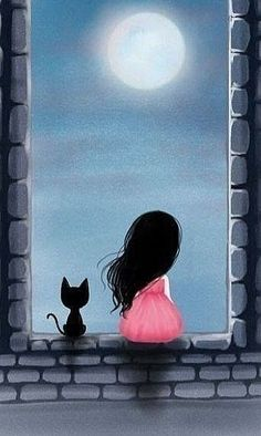 Gorjuss - window with a black cat and a girl I Love Cats, Crazy Cats, Art Mignon, Art And Illustration, Cat Art, Painting & Drawing, Art Drawings, Art Photography, Artsy