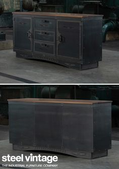 An Armoury is a place for the safe storage of weaponry and so this piece has been designed to be not only secure but also look impenetrable. Industrial Storage Furniture, Industrial Office Storage, Vintage Kitchen Cabinets, Cast Steel, Vintage Sideboard, Steel Panels, Safe Storage, Vintage Storage, Furniture Companies