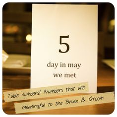 Great idea for table names!