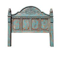 A very original piece! A beautiful, handcrafted carved turquoise bed. This bed is hand carved with a very ornate design in both the foot board and headboard. The turquoise color can be changed to any other color as well. This rustic bed comes in king, queen or twin!