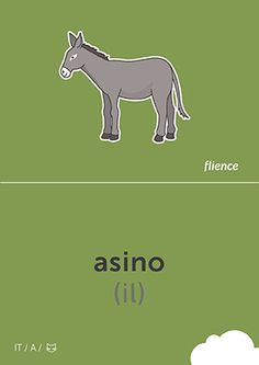 Asino #CardFly #flience #animals #italian #education #flashcard #language