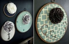 love these fabric floral blooms on the embroidery hoops from monkey and squirrel etsy store