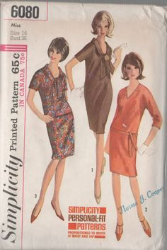 Simplicity Pattern 6080 Vintage One or Two Piece Dress dated 1965. This includes; Misses One-Piece or Two-Piece Dress: Dress or top with raglan sleeves has V neckline and back zipper. Dress V. 1 & top V. 3 have short sleeves & tie collars. Collarless dress V. 2 with below elbow length sleeves has self fabric tie belt & top-stitching trim. Dart fitted skirt V. 3 has waistband & side zipper.  Size 16 Bust 36 Waist 28 Hips 38  UNCUT PATTERN DISCOUNTS!! FREE SHIPPING OFFER!!! Buy 3 patterns or…