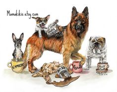 """Coffee Dogs"" funny kitchen wall art, fine art inspired by love of coffee & dogs - Art Print of Original Pen, ink & watercolor by Holly Simental of MamaKikis on Etsy♥🌸♥"