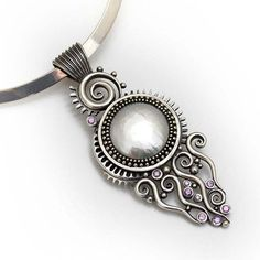 Silver Sea Solstice Statement piece necklace by LizardsJewelry, $780.00