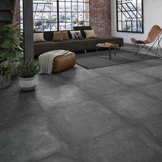 Strong black concrete effect floor and wall tiles x cm - Modern Gray Interior, Home Interior Design, Casa Wendy, New Bathroom Designs, Bedroom Closet Design, Outdoor Tiles, Garage Apartments, Industrial House, Modern Bedroom