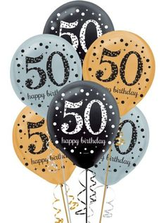 Nothing says happy birthday like birthday balloons. Black, gold, and silver birthday balloons are printed with a giant 50 and Happy Birthday. Happy 50 Birthday Funny, Happy 50th Birthday Wishes, 50th Birthday Balloons, Happy Birthday Typography, Happy Birthday Best Friend, 50th Birthday Quotes, 50th Birthday Cards, Happy Birthday Images, Birthday Pictures