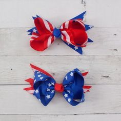 Girls American 4th of July Summer Treats Hair Bow Handmade