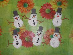 Веселые Снеговики, цветная бумага, вата, краски