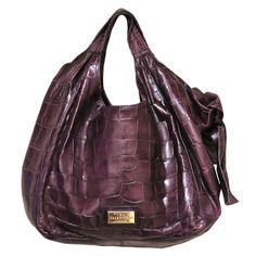 Valentino Purple Crocodile Nuage Bow Bag