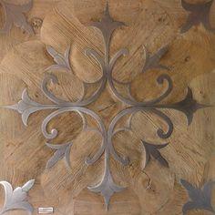 Beautiful metal inlay wooden floor tile