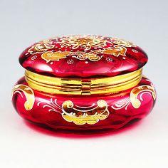 ANTIQUE-BOHEMIAN-MOSER-CRANBERRY-ENAMELED-GLASS-TRINKET-BOX-HINGED-LID-CASKET