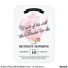 A Spot of Tea with the Bride-to-be | Bridal Shower Tea Party 5x7 Paper Invitation Card