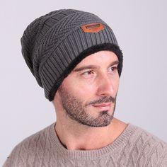 Men s Winter Hat Caps Skullies Bonnet Beanie Fur Warm Baggy Wool Knitted Hat  - Hats. GorrasInviernoHombresSombreros ... 27919aef57e