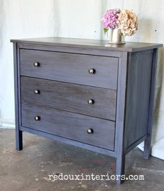 Dumpster Dive makeover.  CeCe Caldwell's 100% Natural Chalk + Clay Based Paints in Newport Navy and CeCe Caldwell's all natural Stain + Finish in Walnut Grove.  Details and a how to video included in post.  REDOUXINTERIORS.COM FACEBOOK: REDOUX INSTAGRAM: REDOUXINTERIORS