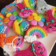 trolls rainbow birthday cookies