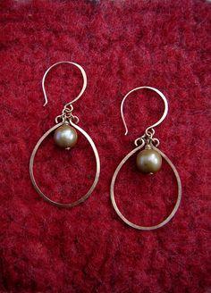Gold Teardrop Hoop & Pearl Earrings - Hammered Wire