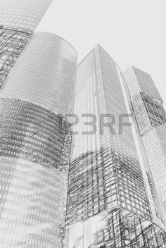 modern office buildings Painting of travel scene pencil drawing outlines of background Stock Photo