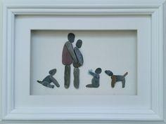 #PebbleArt #FamilyPortrait Custom pebble art portraits @ https://www.facebook.com/cornwallpebbleart/
