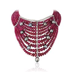 Necklace by Andreoli rubies diamonds pearls